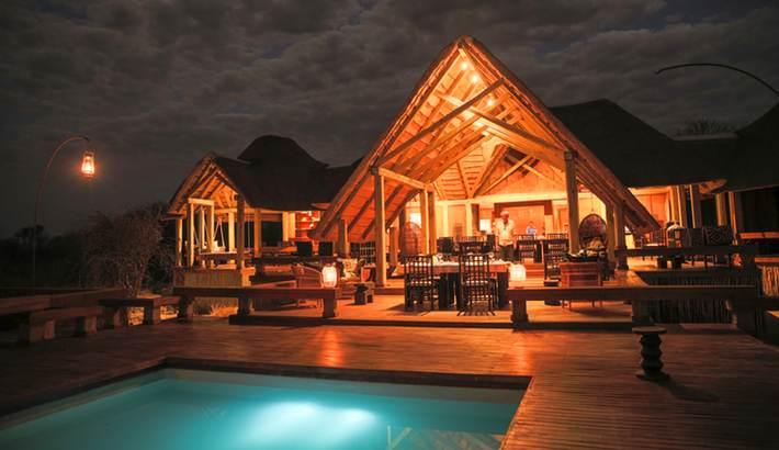 Lodge lit by lanterns