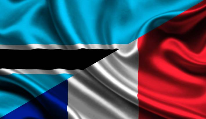 Botswana and France flags