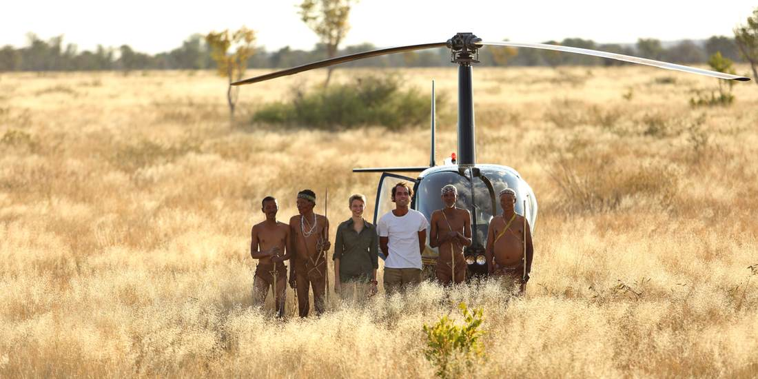Arriving by helicopter for a walking safari with the Bushmen