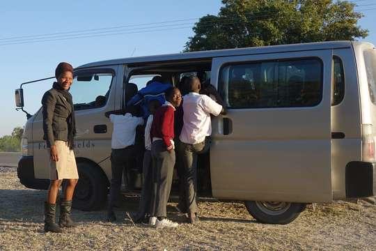 Feline Fields Trust bus taking kids to conservation talk