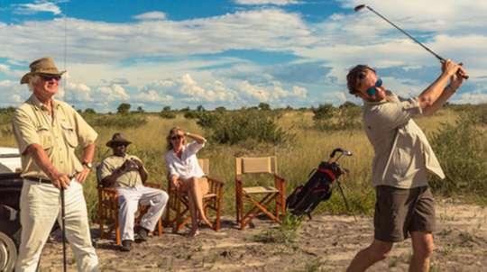 Golf practice in the Kalahari
