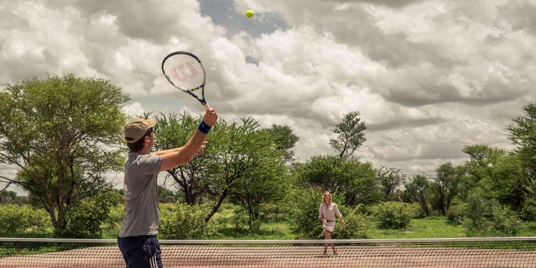 Tennis match in the Kalahari