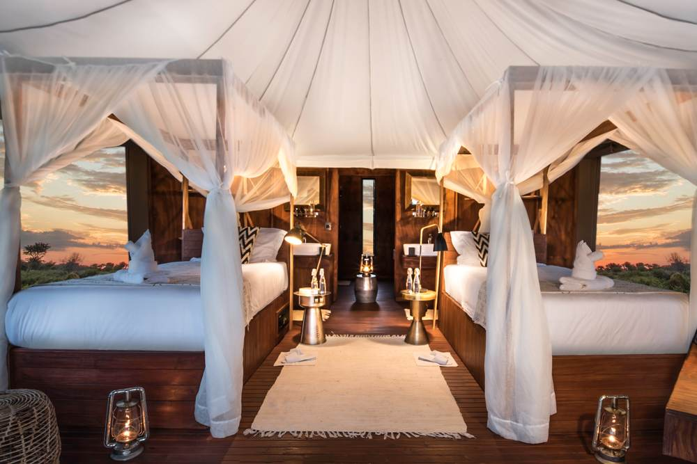 Tented suite beds
