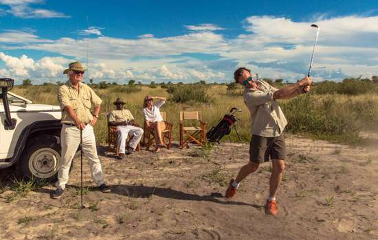 Golf practice in the Kalahari
