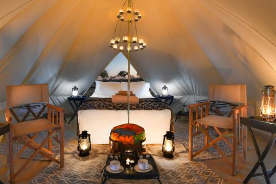 Luxury bell tent interior